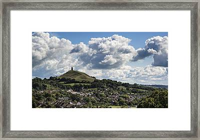 Gloastonbury Tor And Village On Beautiful Blue Sky Summer Day Framed Print by Matthew Gibson