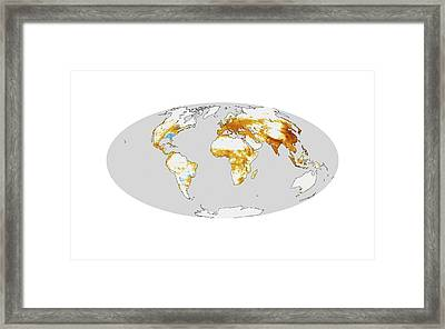Global Air Pollution Mortality Levels Framed Print by Nasa Earth Observatory