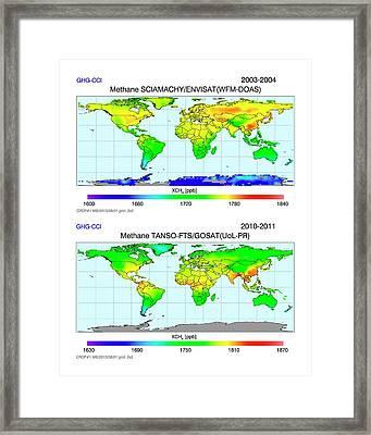 Global Atmospheric Methane Framed Print by University Bremen/european Space Agency