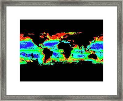 Global Chlorophyll Levels Framed Print