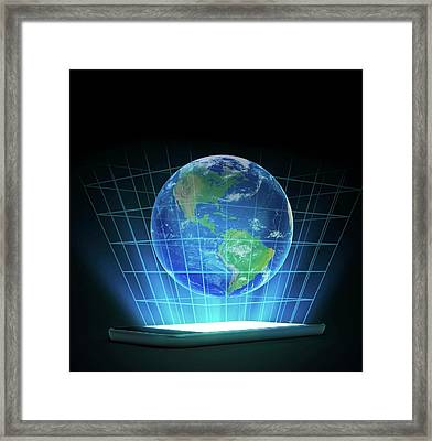 Global Communication Framed Print by Andrzej Wojcicki