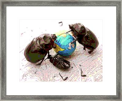 Global Harming Framed Print by Joe Jake Pratt