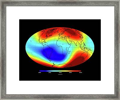 Global Magnetic Field Framed Print by European Space Agency/dtu Space
