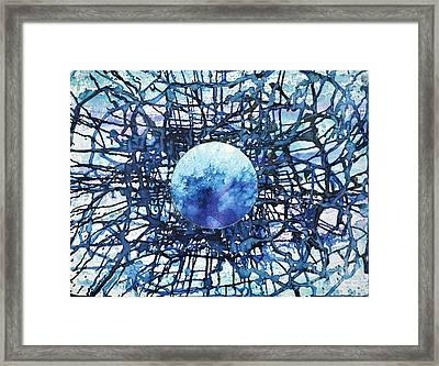 Framed Print featuring the painting Global Net by Joan Hartenstein