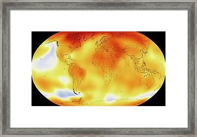 Global Temperature Rise From 1950-2013 Framed Print by Nasa/gsfc