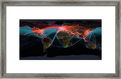 Global Transport Networks On Night Map Framed Print by Noaa