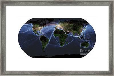 Global Transportation Map Framed Print by Spl