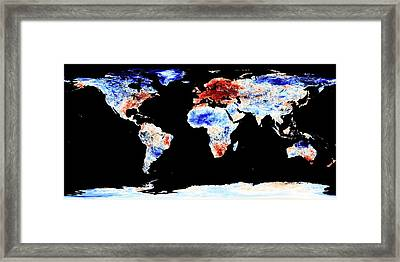 Global Warming Record Framed Print by Jesse Allen, Nasa Earth Observatory/modis Land Group