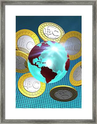 Globe And Bitcoins Framed Print by Victor Habbick Visions