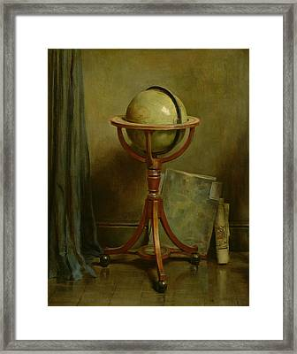 Globe And Maps Framed Print by Ernest Leopold Sichel