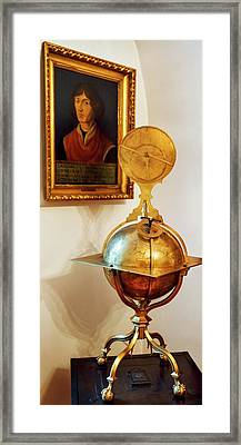Globe And Portrait Of Copernicus Framed Print