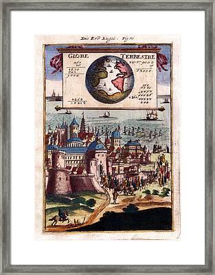 Globe Terrestre 1683 Antique Map Engraving Framed Print