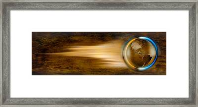 Globe With Streaks Of Lights Framed Print by Panoramic Images