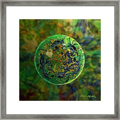 Globing Earth Irises Framed Print by Robin Moline