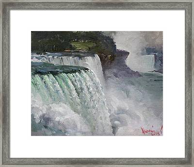 Gloomy Day At Niagara Falls Framed Print by Ylli Haruni