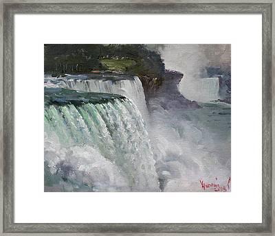 Gloomy Day At Niagara Falls Framed Print