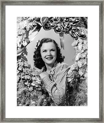 Gloria Jean At Christmas, Universal Framed Print