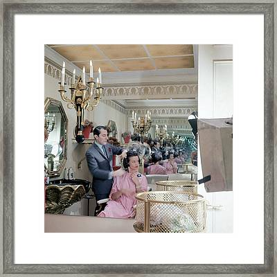 Gloria Vanderbilt At The Revlon Boutique Framed Print