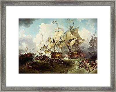 Glorious First Of June Or Third Battle Of Ushant Between English And French Framed Print by Anonymous