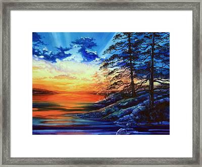Glorious Lake Sunset Framed Print by Hanne Lore Koehler
