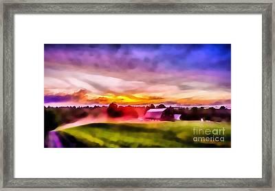 Glorious Sunset On The Farm Framed Print by Edward Fielding