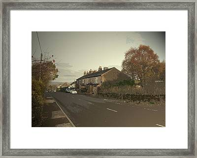 Glossop Road In Charlesworth, The A626 Road Seen Here Framed Print by Litz Collection