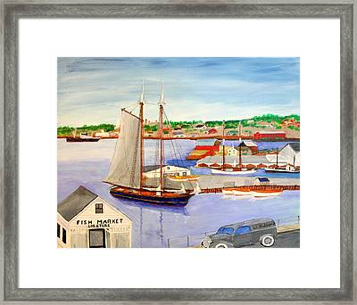 Gloucester Fish Mkt. And Schooners 1939 Framed Print