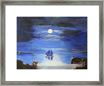 Gloucester Harbor By Moonlight Framed Print by Bill Hubbard