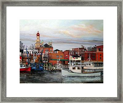 Gloucester Harbor Framed Print by Eileen Patten Oliver