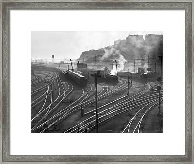Glouster Railroad Yards Framed Print by Underwood Archives