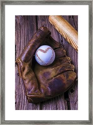 Glove And Heart Baseball Framed Print by Garry Gay