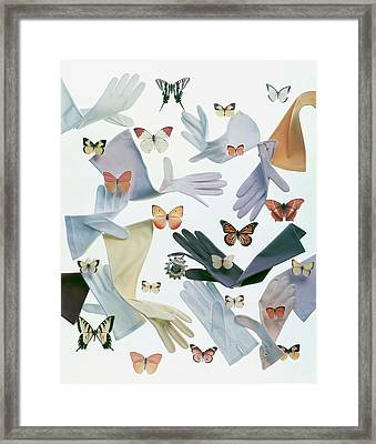 Gloves And Butterflies Framed Print by Ernst Beadle