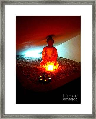 Glowing Buddha Framed Print