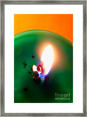 Glowing Candle Wick Framed Print