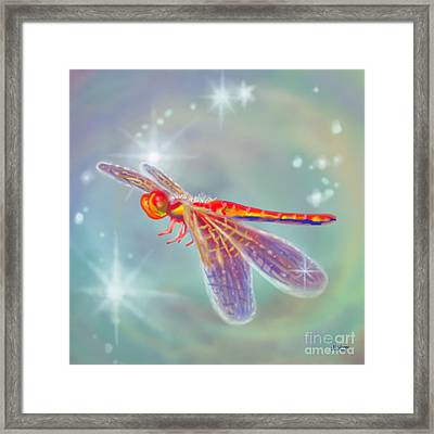 Glowing Dragonfly Framed Print by Audra D Lemke