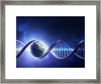 Glowing Earth Dna Strand Framed Print by Johan Swanepoel