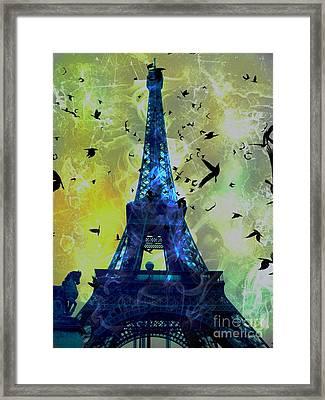 Glowing Eiffel Tower Framed Print