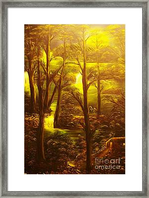 Glowing Evening Falls-original Sold- Buy Giclee Print Nr 28 Of Limited Edition Of 40 Prints   Framed Print