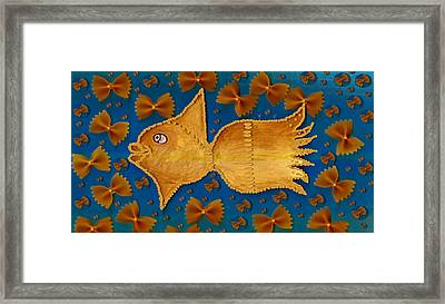 Glowing  Gold Fish Framed Print by Pepita Selles