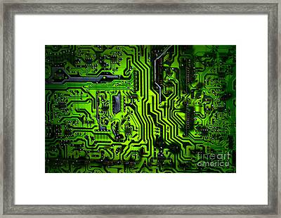 Glowing Green Circuit Board Framed Print by Amy Cicconi
