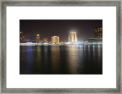 Glowing Hotel Framed Print by Victoria Clark