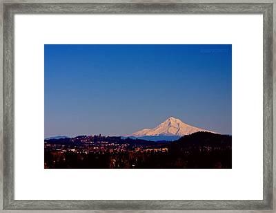 Glowing Mt Hood Framed Print