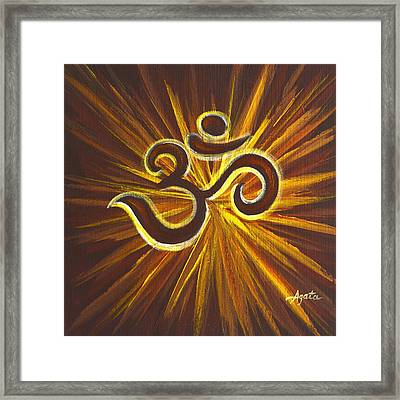 Glowing Om Symbol Framed Print
