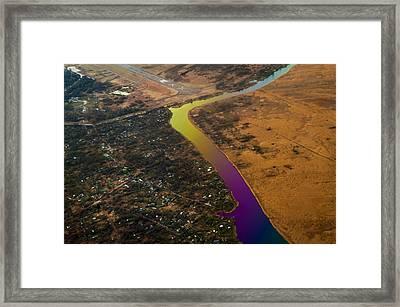 Glowing River. Rainbow Earth Framed Print
