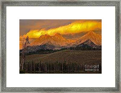Glowing Sawtooth Mountains Framed Print