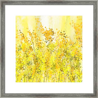Glowing Spring- Yellow Abstract Art Framed Print by Lourry Legarde