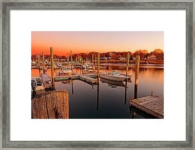Glowing Start - Rhode Island Marina Sunset Warwick Marina  Framed Print by Lourry Legarde