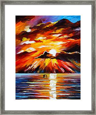 Glowing Sun Framed Print by Leonid Afremov