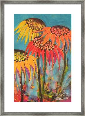 Framed Print featuring the painting Glowing Sunflowers by Lyn Olsen