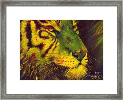 Glowing Tiger Framed Print by Summer Celeste